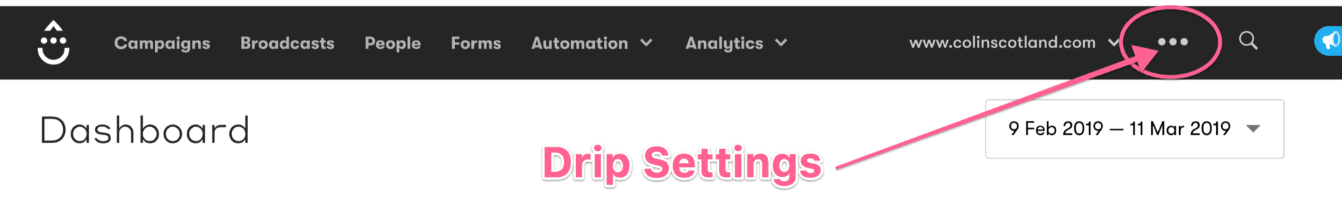 Drip Dashboard Settings Menu